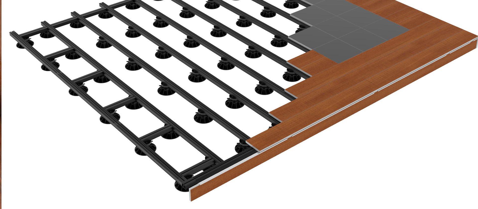 Ossature Métallique Pour Terrasse Bois lambourde aluminium pour construction de terrasse composite